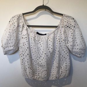 Zara White Peasant Top